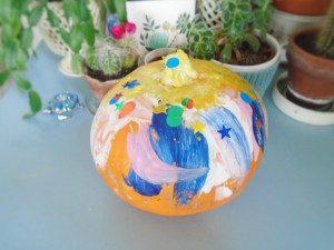 no carve painted and stickered pumpkin