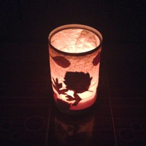 autumn leaf lantern in the dark