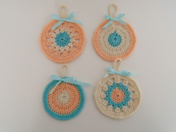 pastel peach cream and mint crocheted christmas baubles