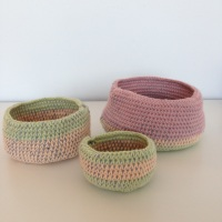Fabric Yarn Crochet Baskets